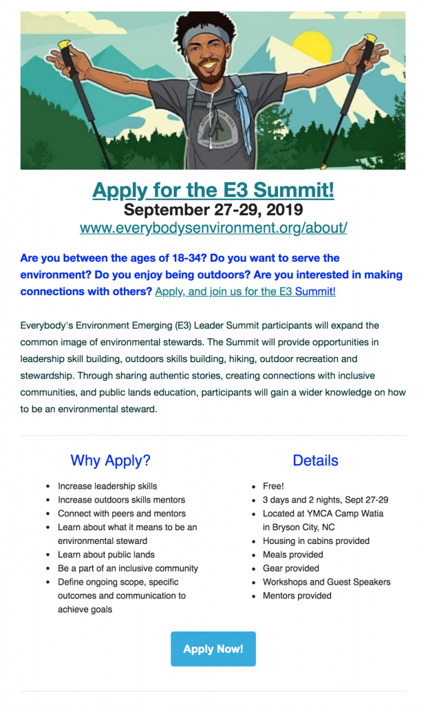 Image of flyer with E3 Summit description